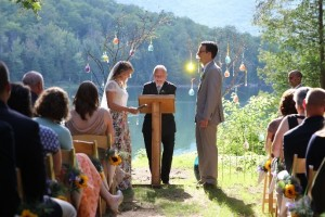Wedding Ceremony on the shore of Heart Lake