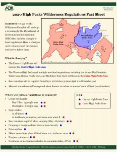 2020 DEC Regulations fact sheet for the High Peaks Wilderness