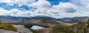Panorama from Mt Jo showing snow-capped high peaks