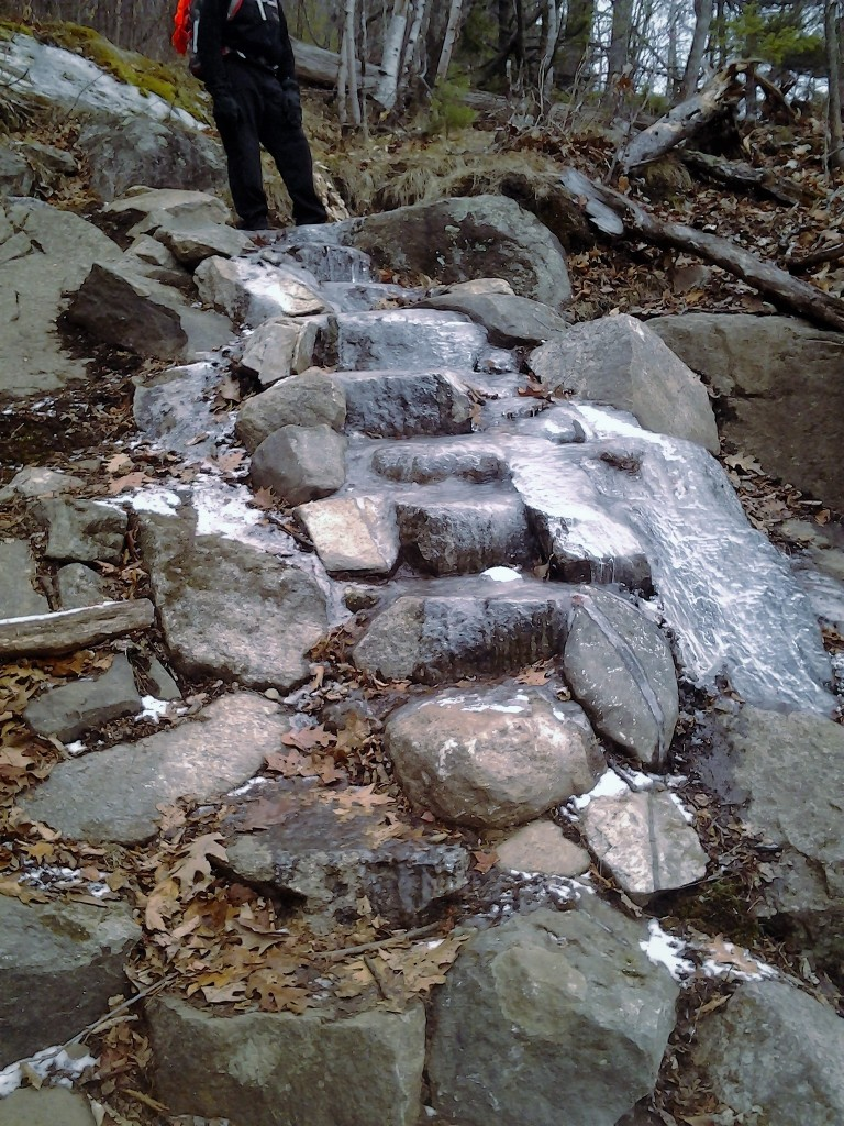 Ice on a rock staircase