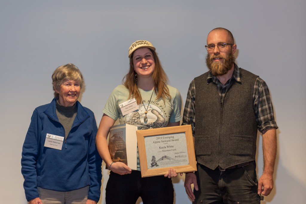 Kayla White with the Emerging Alpine Steward Award and Laura Waterman