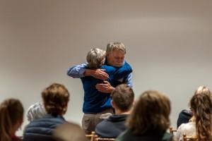 Charlie hugs Laura Waterman