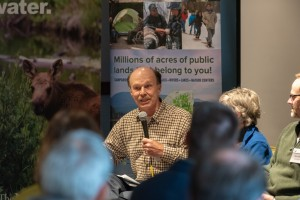 A retired Acadia National Park official speaks from a panel