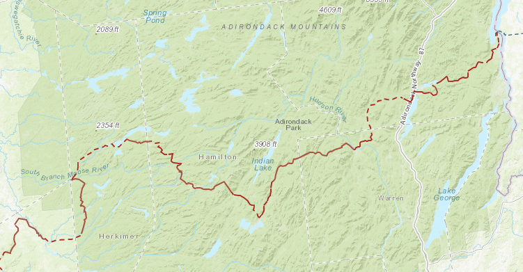 The current map (2020) of the Adirondack section of the NCNST with connecting road walks