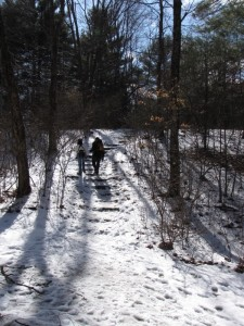 Hikers walking up a snowy trail