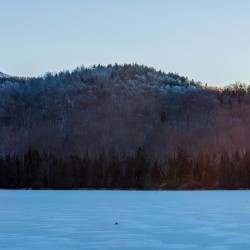 Sunset at Heart Lake in winter