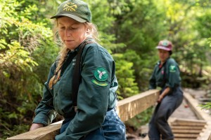 Women working on a trail