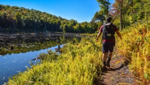 A man hikes along a pond