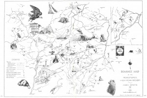 A hand drawn map of the High Peaks Wilderness from 1942