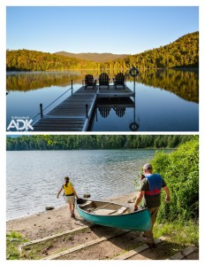 Heart Lake dock and two people carrying a canoe