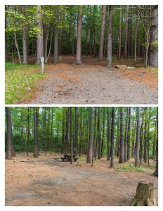 A front and back view of a campsite