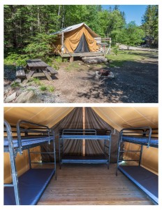 A front and inside view of a canvas cabin