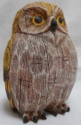Wood look owl figurine