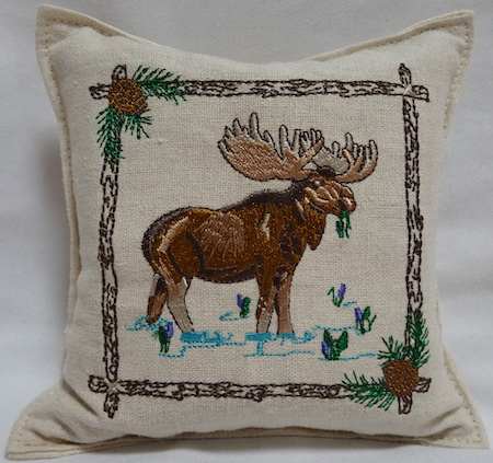 Balsam filled pillow with moose design
