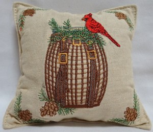 Balsam filled pillow with a pack basket design