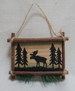 Image of wood moose ornament