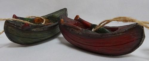 Rustic canoe ornaments