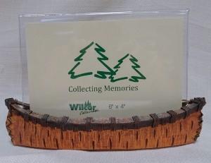 Birch bark canoe photo holder