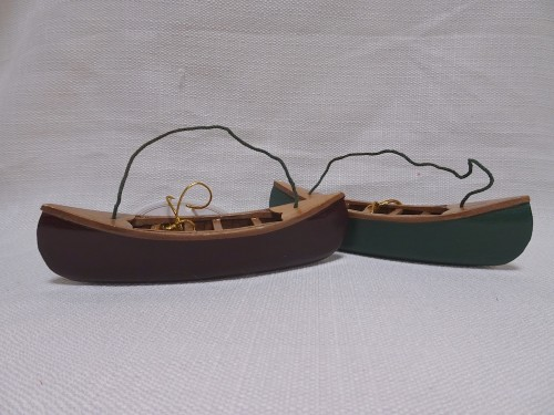 Red and green canoe ornaments