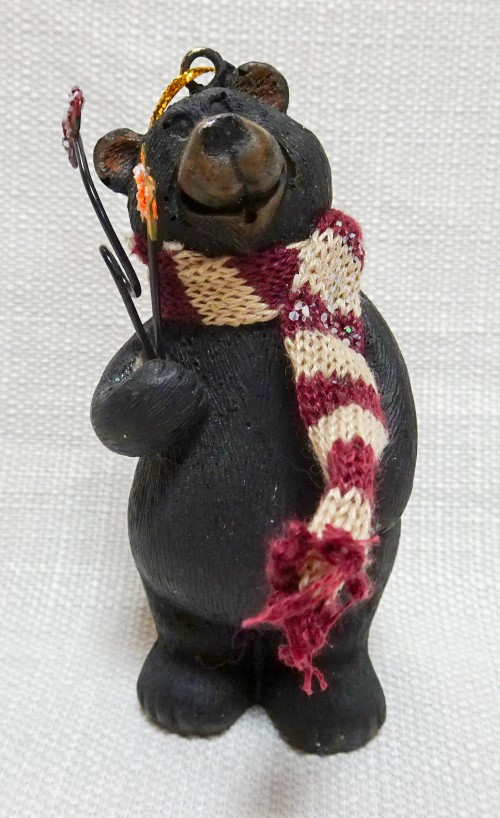 Bear with scarf ornament