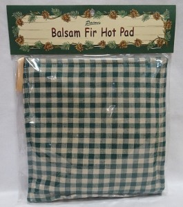 Image of balsam hot pad with green checkered design