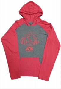 image of men's hoodie in grey/chili