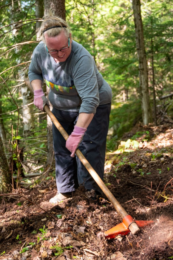 A women rakes leaves
